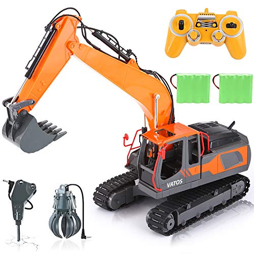 VATOS 17 Kanal Ferngesteuerter Bagger Kettenbagger Spielzeug mit 680° Drehfunktion, 1:16 Maßstab 3-in-1 RC Baufahrzeug Raupenbagger mit Licht und Sound für Outdoor Indoor, 2,4 GHz BAU Traktor für