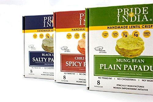 El orgullo de la India clasificó lentejas Papadum fichas plana, salado y embalaje en caliente 6 (2 cajas por sabor) 3,53 oz (100 g) por caja 8count