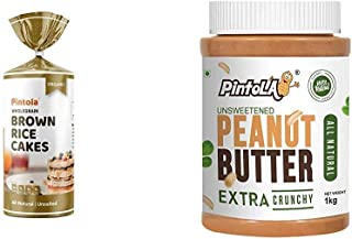 Pintola Organic Wholegrain Brown Rice Cakes (All Natural, Unsalted) (Pack of 1) + Pintola All Natural Peanut Butter (Extra...