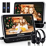 10.1 Inch Dual DVD Player for Car with Headphones, Car DVD Player Dual Screen with Headrest Mount, Support HDMI Input & AV in/Out, USB SD, 1080P Video, Region Free, Mounting Bracket Included
