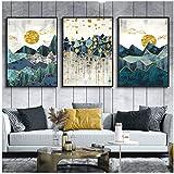 Zhaoyangeng Nórdico Abstracto Montaña Paisaje Pared Arte Lienzo Pintura Sol Dorado Arte Cartel Impresión Pared Imagen Para Sala De Estar- 40X60Cmx3 Sin Marco