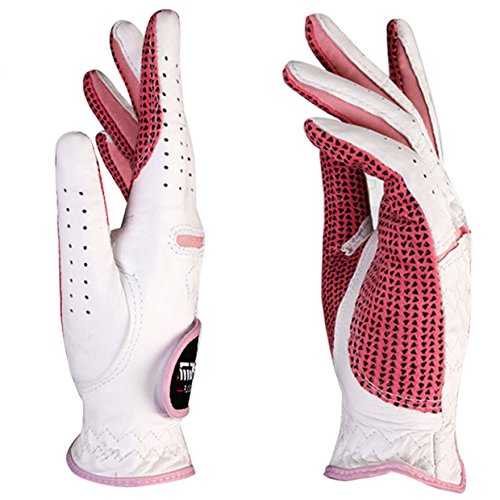 FEOYA Women Luxury Golf Gloves for Both Hands Cabretta Leather Lady Golf Glove White - Size S