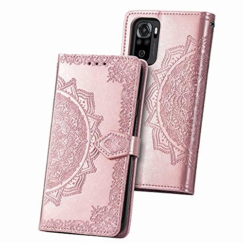 JIAFEI Funda para Xiaomi Redmi Note 10 4G, Estampado Mandala Libro de Cuero Billetera Carcasa, PU Leather Flip Folio Case Compatible con Xiaomi Redmi Note 10 4G, Oro Rosa