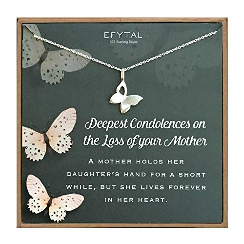 EFYTAL Condolence Gifts, 925 Sterling Silver Butterfly Necklace in Remembrance of Mother, Sympathy Gift for Passing of Mom, Condolences Jewelry for Her