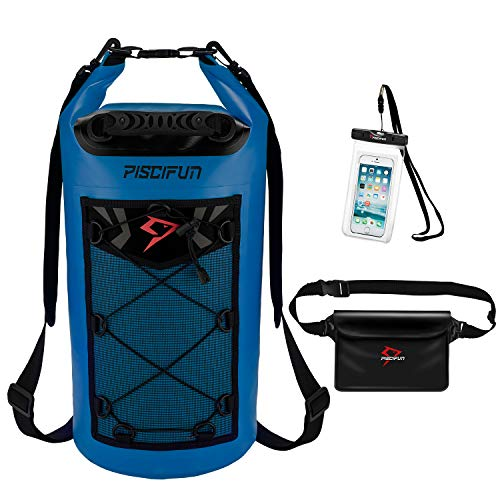Piscifun Waterproof Dry Bag with Waterproof Waist Pouch and Waterproof Phone Case Floating Dry Backpack for Water Sport - Fishing, Boating, Kayaking, Camping Gifts for Men and Women Sapphire Blue 10L