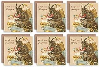 Wee Blue Coo Christmas Cards x6 Krampus Anti Santa Funny Kids Set Xmas Cards