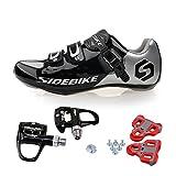 TXJ Chaussures de Vélo cyclisme de route avec Pédale de vélo de course EU Größe 43 Ft 27cm (SD-001 Noir / Argent)(Pédale...