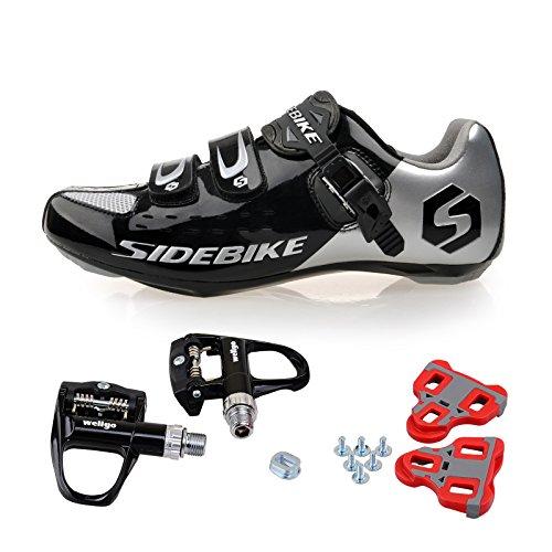 TXJ Chaussures de Vélo cyclisme de route avec Pédale de vélo de course EU Größe 43 Ft 27cm (SD-001 Noir / Argent)(Pédale Noire)