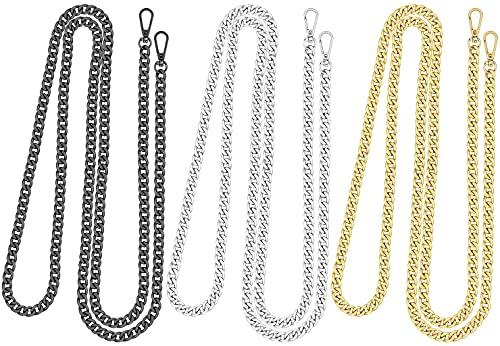 Homgaty - Set di 6 cinghie di ricambio a catenella per borsa a mano, catena di ricambio in metallo per pochette, 3 pezzi di catena a tracolla lunga e 3 pezzi per pochette, colore: argento, oro, nero