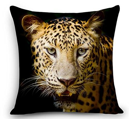 Animal Cheetah - Funda de cojín, diseño de leopardo, algodón, lino, 45 cm