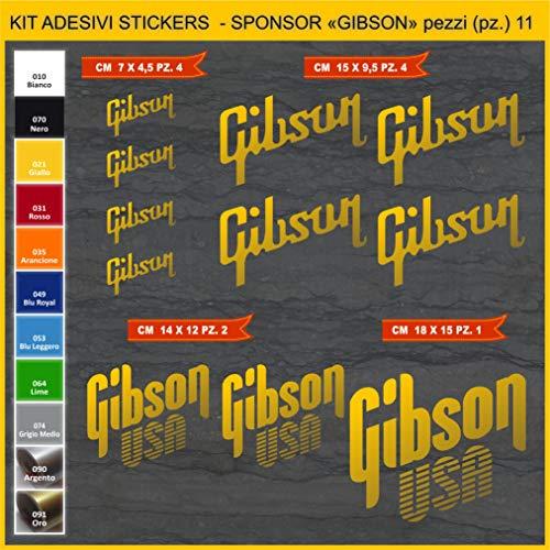 Kit Stickers Gibson Gitarre -11 Pezzi- Wählen Sie Farbe Code 1082 Goldfarben (091 ORO)