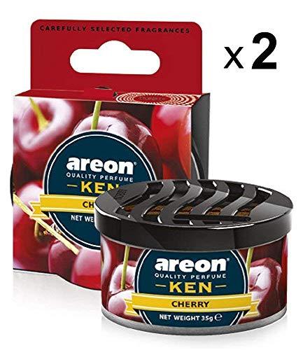 AREON Ken Auto Duft Cherry Lufterfrischer Kirsche Dose Autoduft Duftdose Wohnung Erfrischer 3D Set Pack x 2