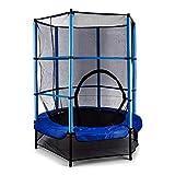 KLAR FIT Rocketkid - Trampoline, Adapté au Jardin, pour Enfants de Plus de 3 Ans, Surface de Saut de 140cm, Filet de sécurité, Cordes, Charge maximale 50kg, Rebord rembouré - Bleu