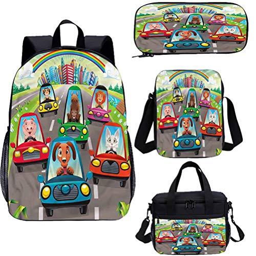 Mochila para niños de 15 pulgadas con bolsa de almuerzo, juego de estuche, conejito y gatito y caballo 4 en 1 conjuntos de mochila