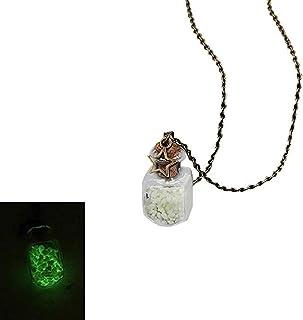 Scpink Glow in The Dark Flower Glass Piccolo Wishing Bottiglia Fiala Collana pendente Collana a catena Regalo romantico (V...