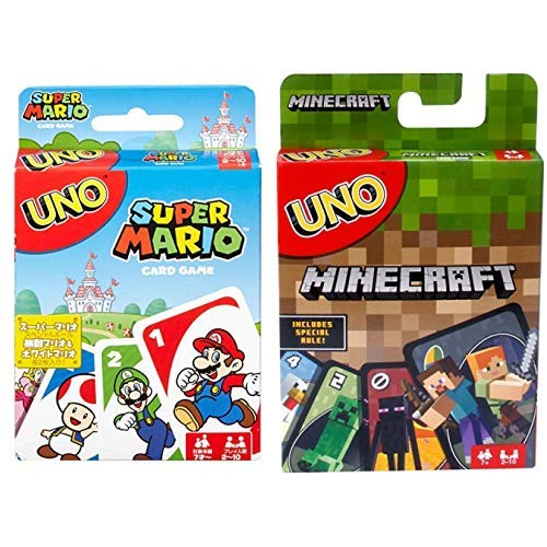 UNO Super Mario Card Game AND UNO Minecraft Card Game
