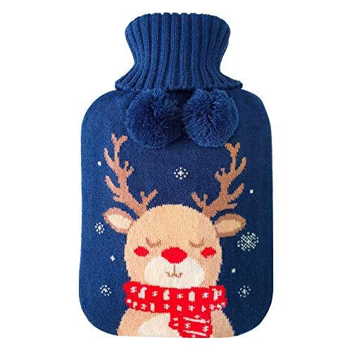 FoxSP, Bolsa de Agua Caliente Térmica con Funda, Goma Natural, Botella Grande de Cama, 2 litros | Para Calentar Pies, Manos, Espalda, Cuello | Ciervo de Navidad, Hot Water Bottle