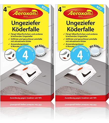 Aeroxon Ungeziefer Köder-Falle 8 Stück – zuverlässiges fangen von Ungeziefer – Schabenfalle, Silberfischfalle, Insektenfalle, auch gegen Kellerasseln und anderes kriechendes Ungeziefer