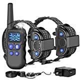 F-color Dog Training Collar, Waterproof Dog Shock Collar with Voice, Remote Range 2600FT, 4 Training Modes Rechargeable Shock Collar for Dogs with Removable Contact Points for Small Medium Large Dogs
