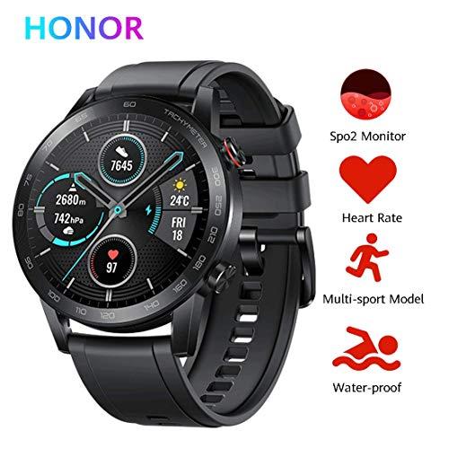 HONOR Magic Watch 2 46 mm Smart Watch, Fitness-Aktivitätstracker, Herzfrequenz Stress SpO2-Monitor, 14 Tage Standby,Eingebautes Mikro Lautsprecher, GPS, 15 Fitnessmodi,5 ATM wasserdicht,(Schwarz)