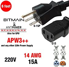 Heavy Duty Power Cord 220-250v UL 14 AWG 6-15P, Works for BITMAIN Miner APW3++ for Antminer T15, S11, DR5, A3, S9, D3, L3, T9, V9 and Also ETH and Many CryptoCoin Miners