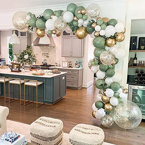 Avocado Grün Ballons Girlande Set, 121 Stück Sage Green Garland Kit Olive Retro Grün Weiß Gold Metallic Latex Ballon mit Konfetti Ballon für Baby Shower Geburtstag Party Hochzeit Jubiläum Dekorationen