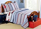 Cozy Line Home Fashions Cars 2 Piece Bedding Quilt Set for Boy, 100% Cotton Navy/Blue/Red Grid Stripe Printed Reversible Bedspread Coverlet for Kids (Benjamin Stripe, Twin - 2 Piece)