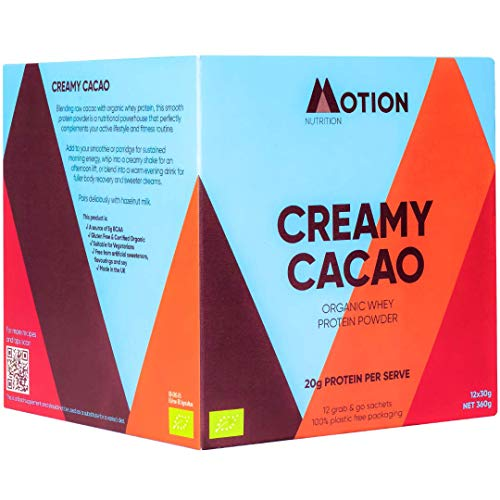 Motion Nutrition Creamy Cacao Whey Protein - 100% Organic Whey Protein Powder - Fights Fatigue/Promotes Faster Recovery + Sleep Supporter - 20g Protein Per Serve (12 x 30g Eco Sachets)