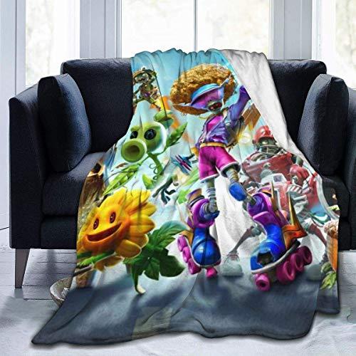 Weiche Decke von Plants vs. Zombies, kleine Plüsch-Decken, die die ganze Saison über warm halten, leicht, warm und Antiblockier-Flanelldecken, 203,2 x 152,4 cm