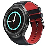 NotoCity for Samsung Gear S2 Band Soft Silicone Strap Sports Replacement for Samsung Gear S2 Smart Watch SM-R720 SM-R730 (Black-red, Large)