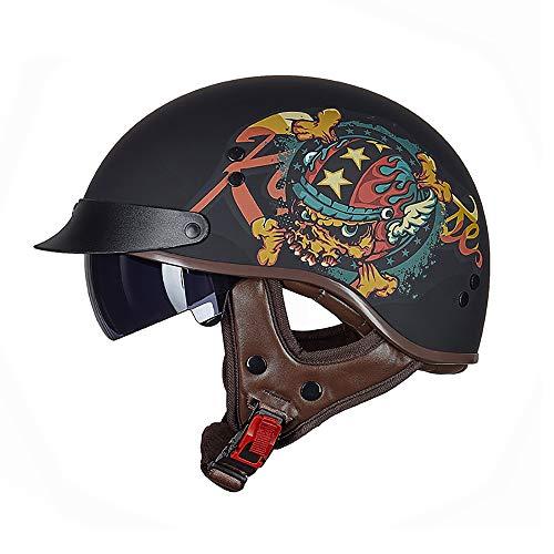 Xwenx Casco de motocicleta con protector solar para hombres y mujeres, medio casco Harley de perfil bajo Beanie Retro casco para verano con gafas de sol, XXL