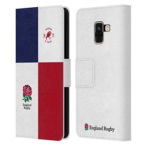 Head Case Designs Official England Rugby Union Pasión Y Orgullo 2 Insignias de Rayas Carcasa de Cuero Tipo Libro Compatible con Samsung Galaxy A8 (2018)