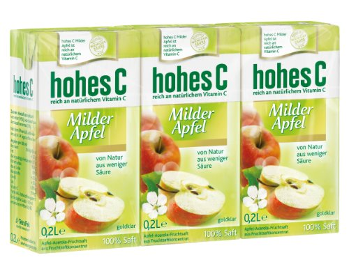 Hohes C Milder Apfel - 100% Saft, 3 x 0.2 l, 10er Pack (30 x 200 ml)