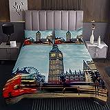 Berühmte Handyzelle Tagesdecke 220x240cm London für Kinder Jungen Mädchen Retro sterben Groß Ben Symbole Bettüberwurf Uk Jahrgang Dekor Steppdecke Schlafzimmer Kollektion 3St