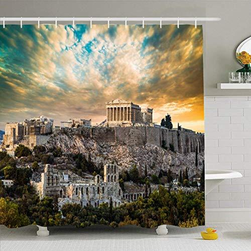 Cortina de ducha Ahawoso con ganchos Partenón Acrópolis Atenas Hermosas ruinas bajo Grecia Cielo dramático Puesta de sol Lugares de interés Arquitectura Tela de poliéster impermeable Decoración de bañ