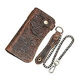 Hombres de piel auténtica cartera de largo con cremallera bolsillo cadena de Vintage Bifold Chequera - Marrón -