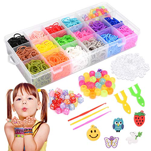 LET'S GO! Toy for 4-12 Year Old Girls, Friendship Bracelet Making Kit for Girls Toys Ages 4-10 Great Kids Creativity DIY Xmas Birthday Gifts for 5-10 Year Old Girls Rubber Band Bracelet Making Kit