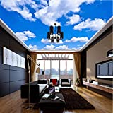 Pbldb Ceiling Mural Custom 3D Photo Wallpaper Blue Sky and White Clouds Wall Mural Wall Paper for Living Room Ceiling Contact Papers-250X175Cm