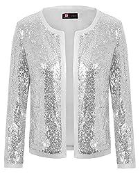 Silver(mesh) Sequin Jacket 3/4 Sleeve Open Front Bolero Shrug