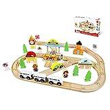 MYRCLMY Pista A Granel De Madera, 44 Piezas - Juego De Trenes con Crossroads - Accesorios De Expansión Ferroviaria - Aficiones, Juegos Y Actividades para Niños,Color Box