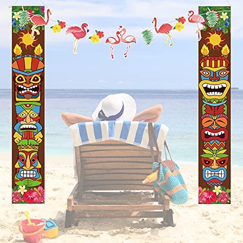 LAMEK Luau Tiki Banner Verano Aloha Porch Sign Welcome Decoracion de Interior al Aire Libre con Flamenco Banner Hawaiian Accesorios de Fiesta para Fiesta en Piscina, Fiesta en Playa
