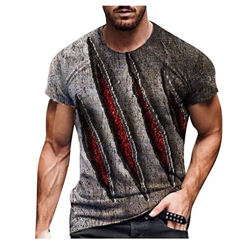 ddfd Camiseta para Hombre, Camiseta de Manga Corta con Cuello Redondo y Estampado de Moda para Hombre