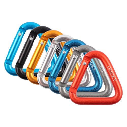 OMUKY - 7 mosquetones de seguridad triangulares (7 colores)