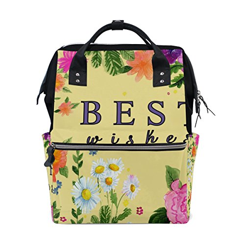 Student Travel School Backpack Best Wishes Colorful Flower Laptop College Bags Shoulder Tote Bag