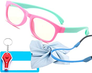 Kids Blue Light Glasses with Strap Computer and Gamer Eyewear Anti-Glare Protection Anti-Fatigue Anti UV Glasses for ...