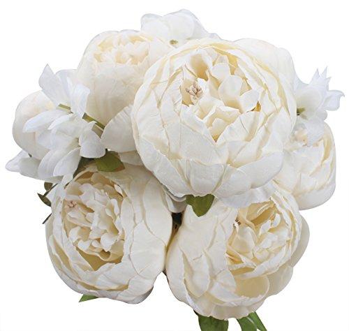 Xiuer klassische, künstliche Blumen, Pfingstrosen, Blumenstrauß für glorreiche Hochzeiten, Brautschmuck, Dekoration für Zuhause weiß