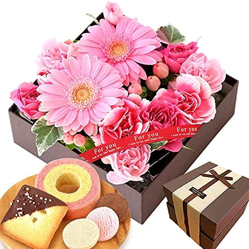 誕生日 プレゼント 花 バラ 人気商品 ケーキ洋菓子 お菓子 スイーツ お祝いギフト アレンジメント生花 (ピンク)