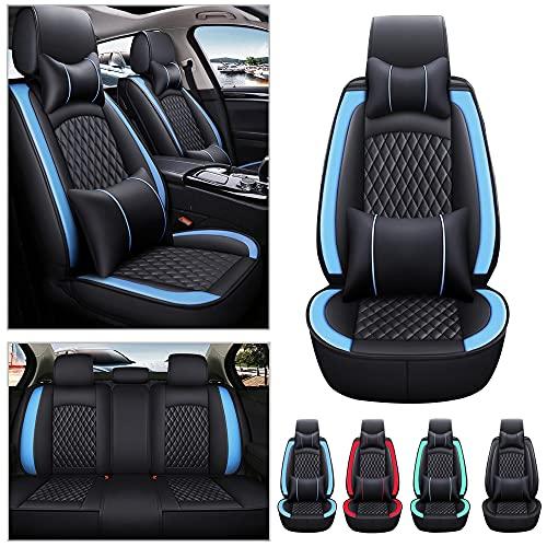 Fundas universales para asientos de coche para Dacia Duster Prestige para todo tipo de clima, piel sintética, resistente al desgaste, impermeable, 5 asientos (negro con azul)