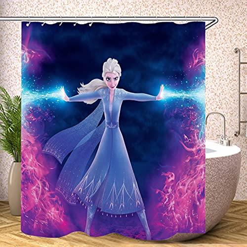 Fgolphd Frozen Disney Prinzessinnen Duschvorhang 120x200 180x200 180x180 200x240 Bunt Pink Blau Textil Badezimmerteppich 4-teiliges Set,Shower Curtains Waschbar (4,120 x 200 cm)