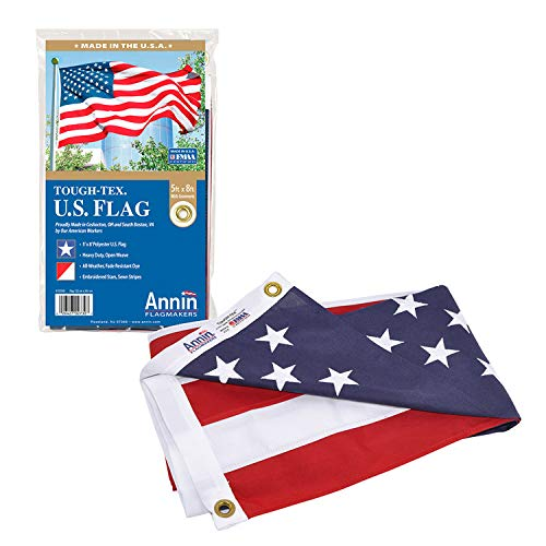 Annin Flagmakers Model 2730 American Flag Tough-Tex The Strongest, Longest Lasting, 5x8 ft, 100% Made in USA with Sewn Stripes, Embroidered Stars and Brass Grommets